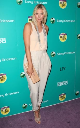 Tennis Player Maria Sharapova Attends Sony Ericsson VIP Party Wearing Harem Pants