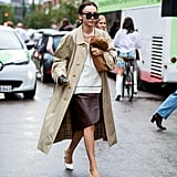 Autumn Outfit Idea: Trench Coat + Leather Skirt