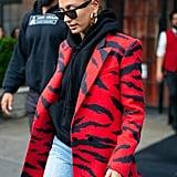 Hailey Baldwin Red Animal Print Blazer and Black Hoodie