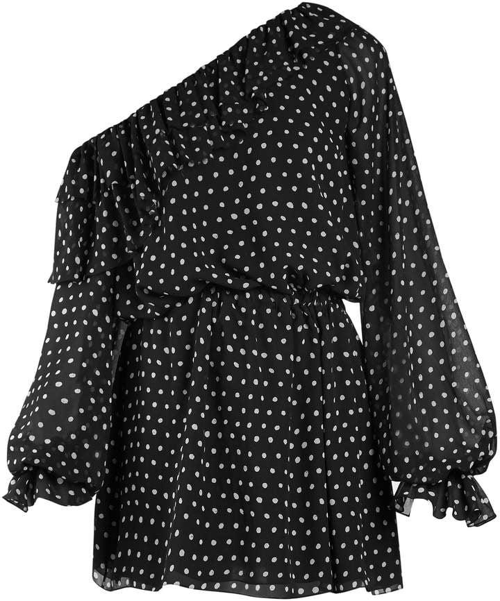 Saint Laurent Polka-Dot One-Shoulder Dress