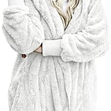 Dokotoo Fuzzy Fleece Open-Front Hooded Cardigan in White