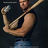 "Former baseball player Mark McGwire posed with a bat for his ""Got Milk?"" ad."