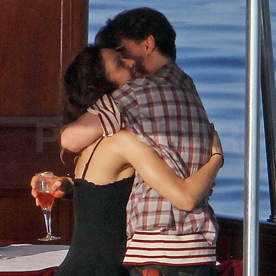 Johnny Depp greeted Vanessa Paradis with a big hug.