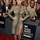 Katy Perry posed on the red carpet at the MTV VMAs.