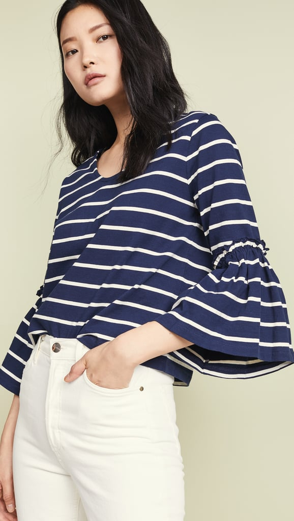 5d727599f Madewell Ruffle Sleeve Top in Irwin Stripe   Best Cheap Clothes From ...