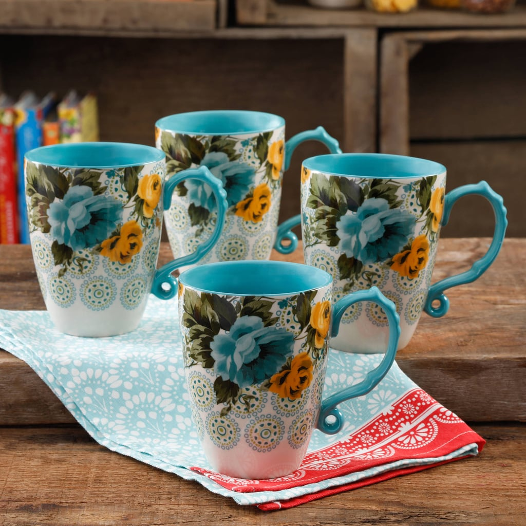 The Pioneer Woman Rose Shadow Jumbo 26-Ounce Latte Mug Set, Set of 4 ($18)