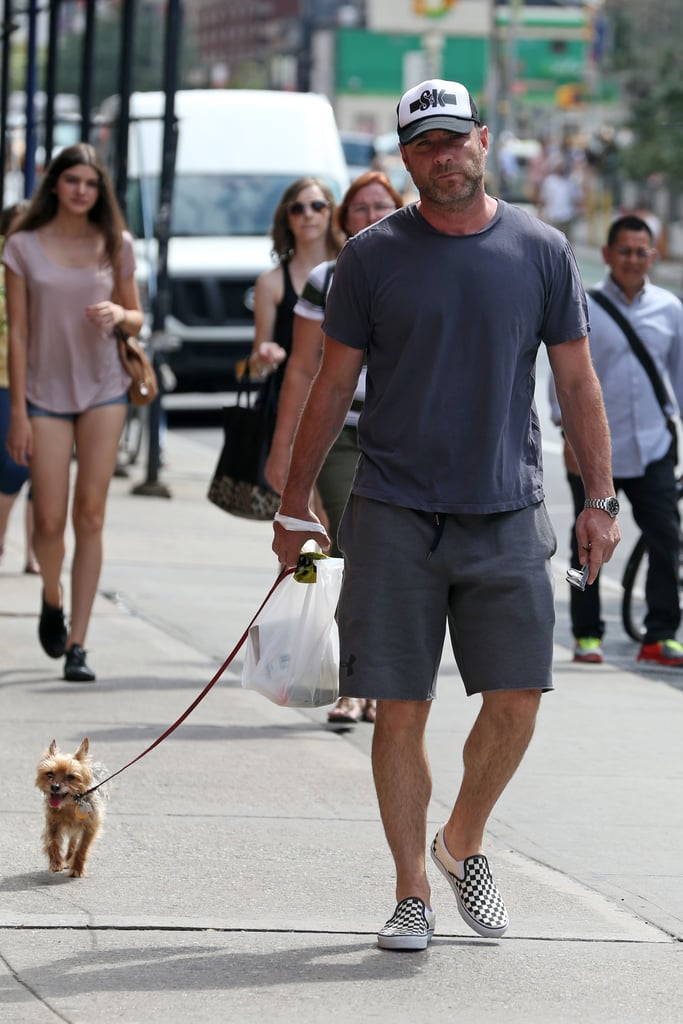 Liev Schreiber took his pup for a stroll around NYC in July 2015.
