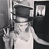 Hilary Duff wore a trio of hats. Source: Instagram user hilaryduff
