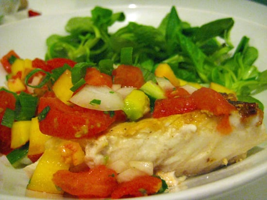 Cod Topped With Tomato Peach Salsa