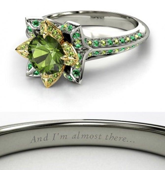 Green tourmaline Tiana Engagement Ring ($2,175)