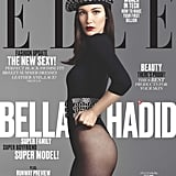 Bella wearing a bodysuit, belt, and beret by Azzedine Alaïa and tights by Wolford.