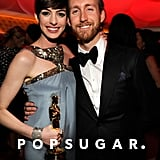 Anne Hathaway brought her husband, Adam Shulman, and her Oscar to the Vanity Fair afterparty.