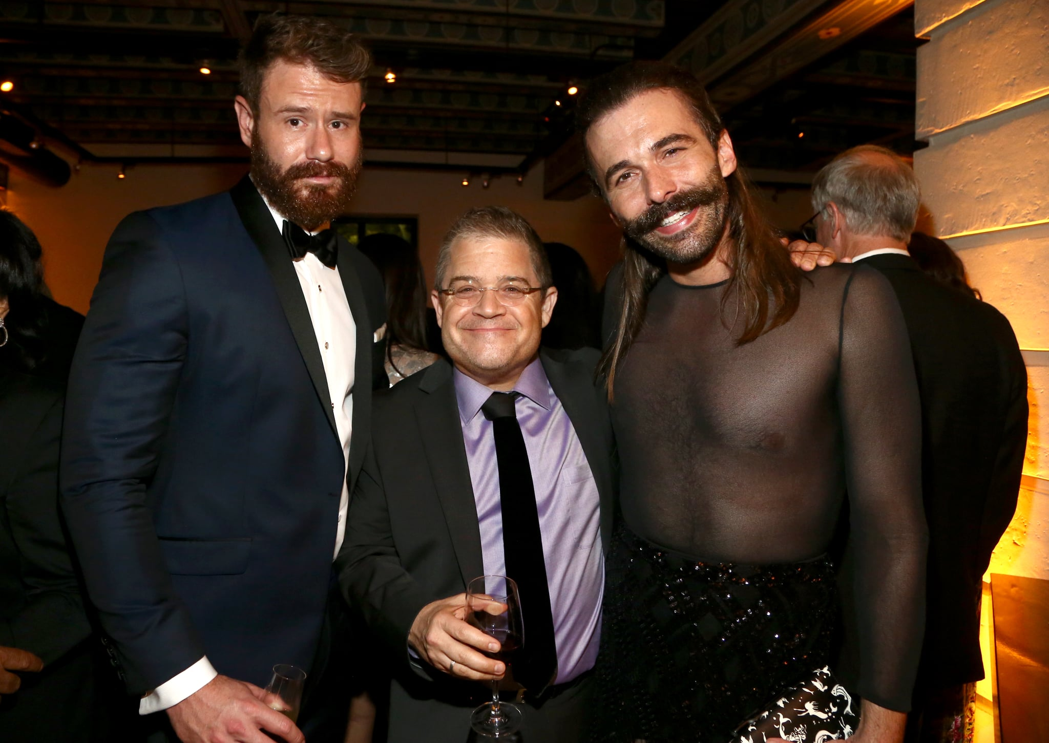 LOS ANGELES, CA - SEPTEMBER 09: Wilco Froneman,  Patton Oswalt and Jonathan Van Ness attend the 2018 Creative Arts Emmy Awards Netflix After Party at redbird on September 9, 2018 in Los Angeles, California.  (Photo by Tommaso Boddi/Getty Images for Netflix)