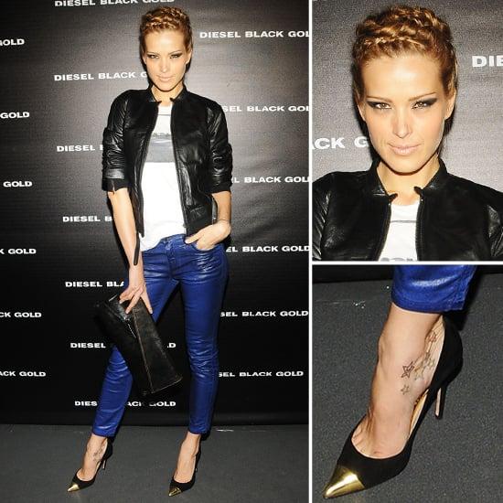 cbb3ab69c4a21 Petra Nemcova Wearing Blue Leather Pants | POPSUGAR Fashion