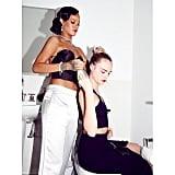 In true BFF fashion, Rihanna helped Cara with her hair.  Source: Instagram user badgalriri