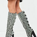 Missguided Snake Lace Up Knee High Boot