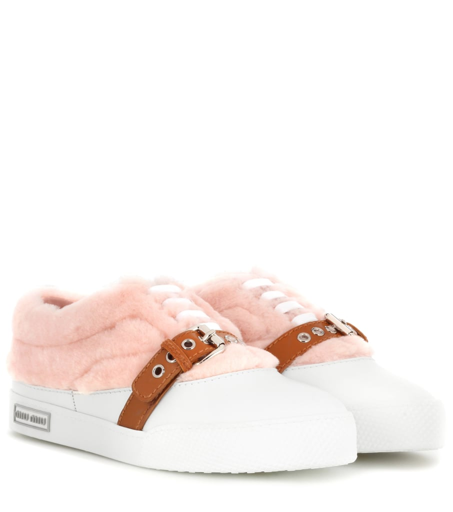 Buckle into Miu Miu's Furry Embellished Sneakers ($690)