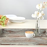 Distressed Torched Wood Serving Tray