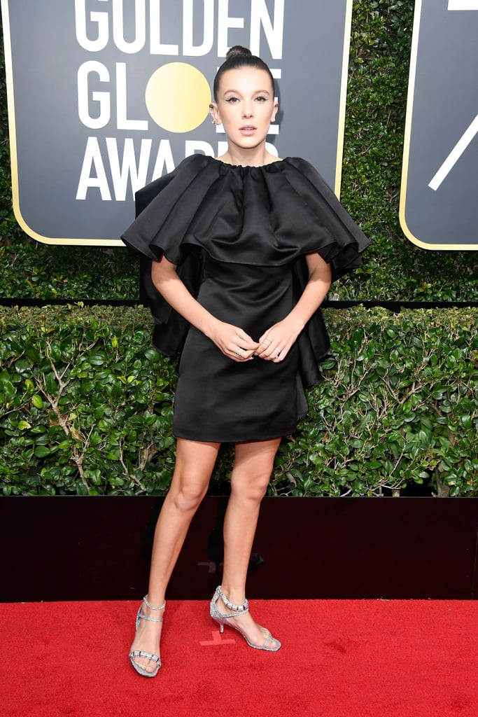 Image result for golden globes 2018 worst dressed millie bobby brown