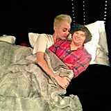 Miley Cyrus got sassy with a cardboard cutout of Harry Styles. Source: Twitter user MileyCyrus