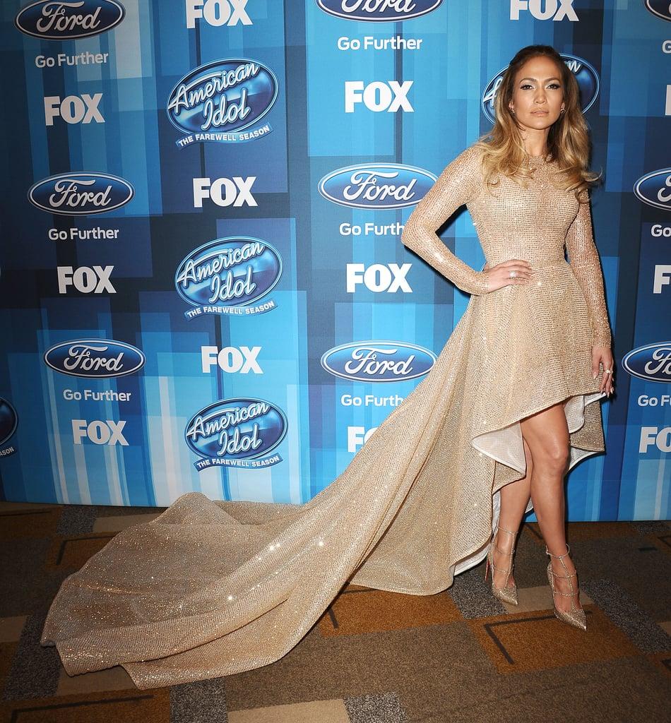 Jennifer Lopez\'s Gold Dress at American Idol Finale 2016   POPSUGAR ...