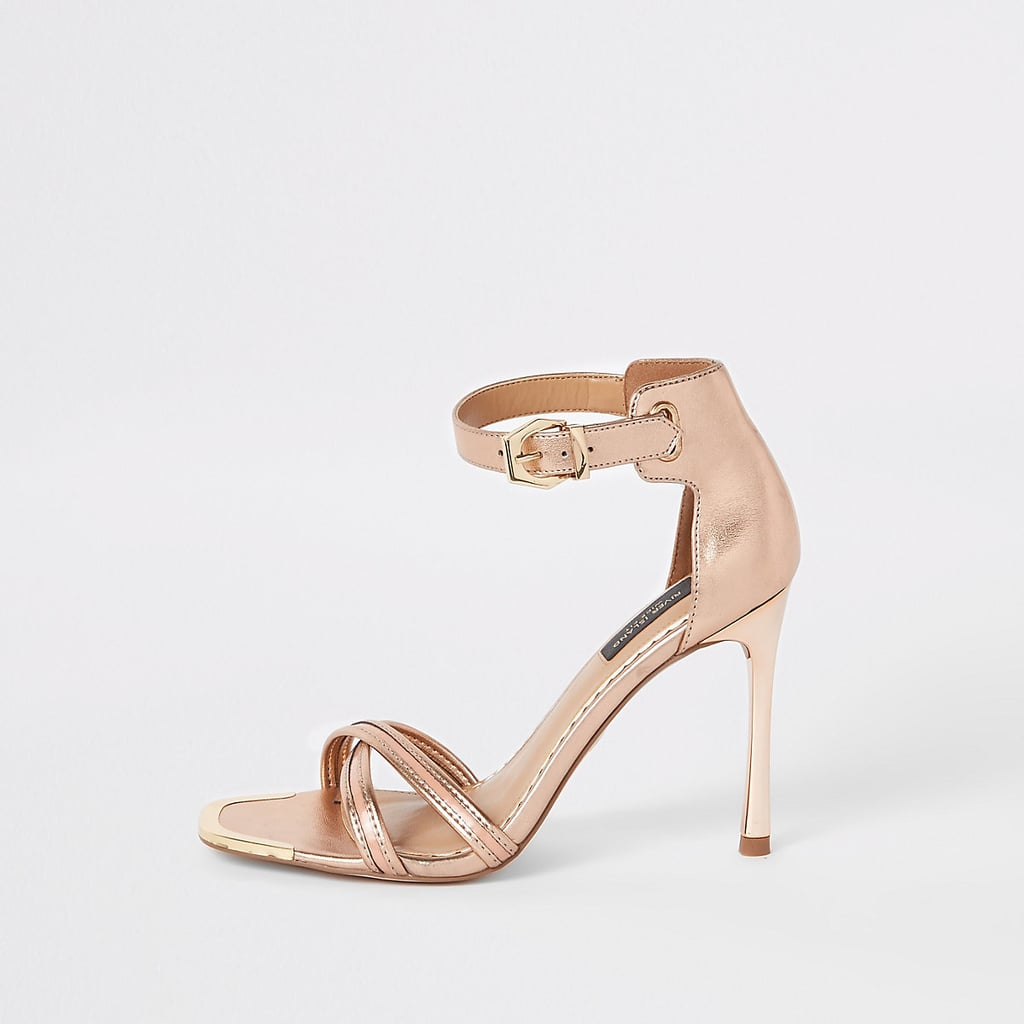 d2e776322477 River Island Rose Gold Wide Fit Barely There Sandals