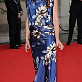 Alice Temperley went floral for a private view of the Ballgowns: British Glamour Since 1950 exhibition at the V&A.