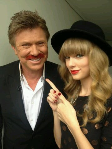 Richard Wilkins coloured his Movember mo' red in honour of Taylor Swift's album, Red, which she appreciated when she visited Sydney in November. Source: Twitter user RichardWilkins