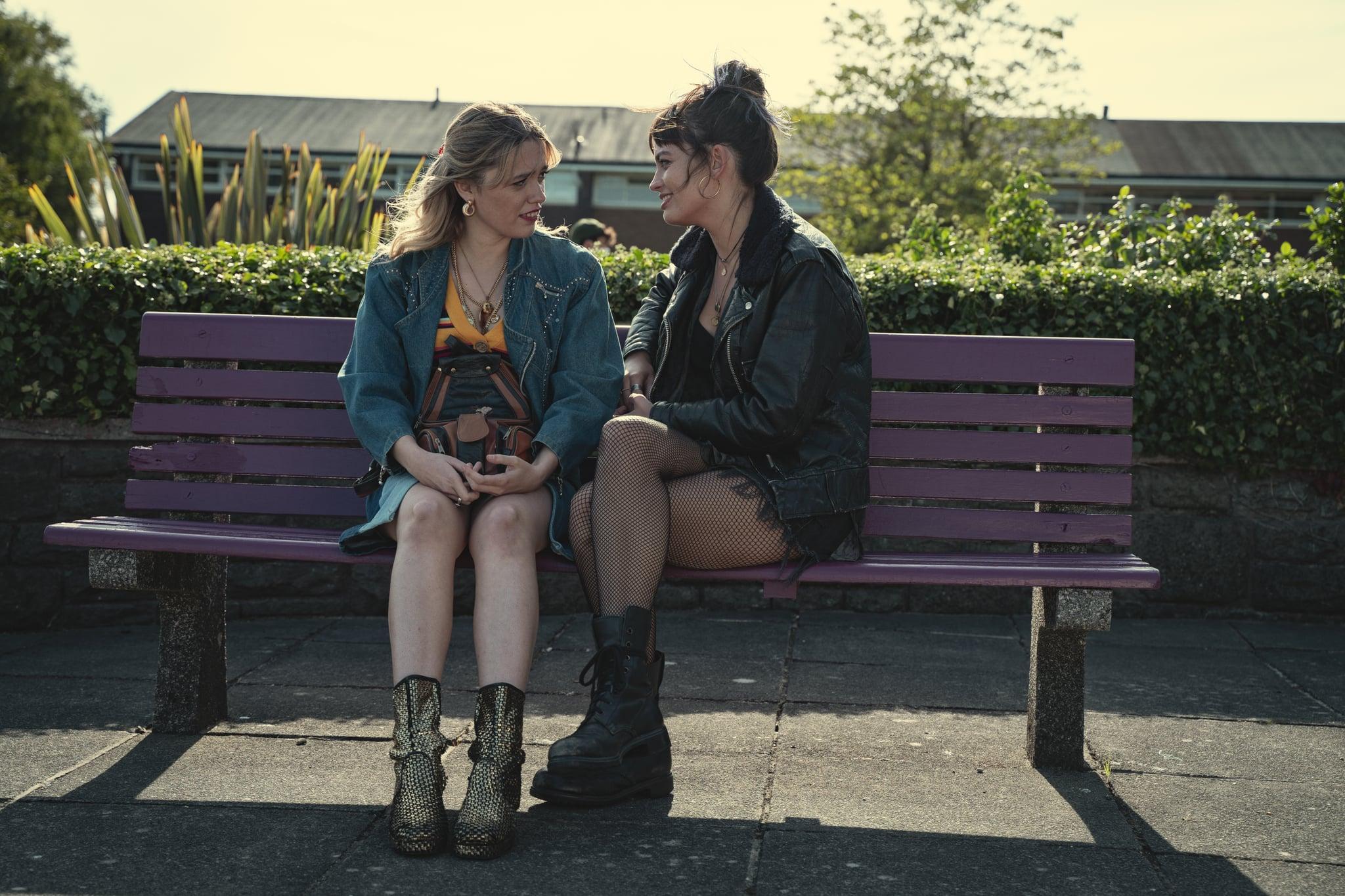 Sex Education Season 3.  Aimee Lou Wood as Aimee Gibbsin, Emma Mackey as Maeve Wiley in Episode 2 of Sex Education Season 3. Cr. Sam Taylor/NETFLIX © 2020