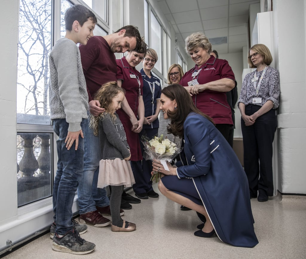 Kate spoke to a shy little girl during a hospital visit in February 2018.