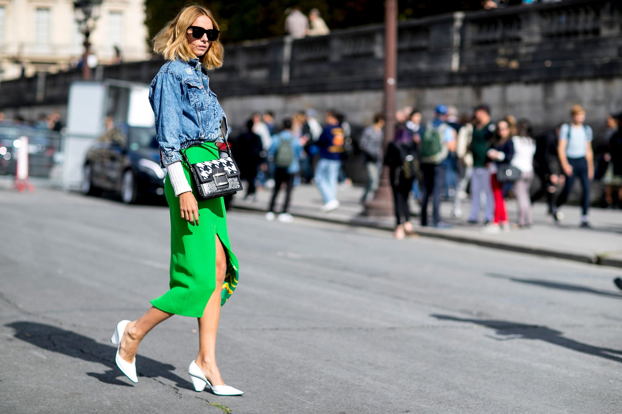 Sometimes reinventing your work outfit is as easy as swapping your blazer for a denim jacket and slipping into a high-octane hue.