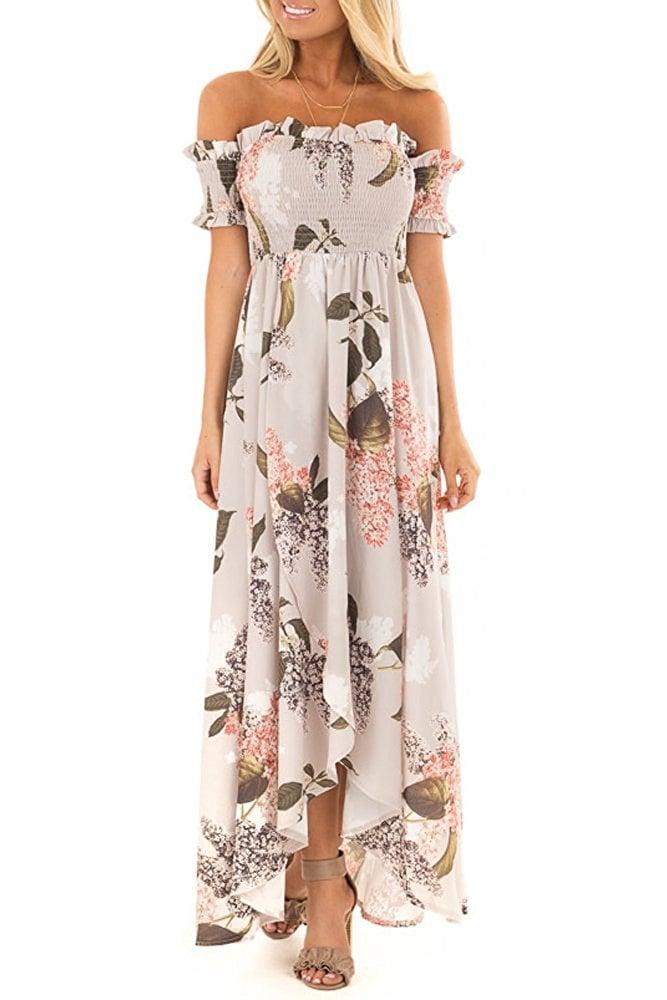 30bf0f456a72 Yibu Apparel Women s Summer Short Sleeve Floral Off Shoulder Maxi ...