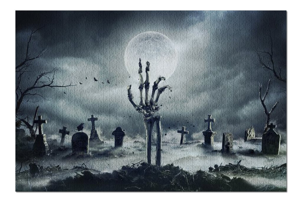 Skeleton Zombie Hand Rising Out of a Graveyard For Halloween Puzzle