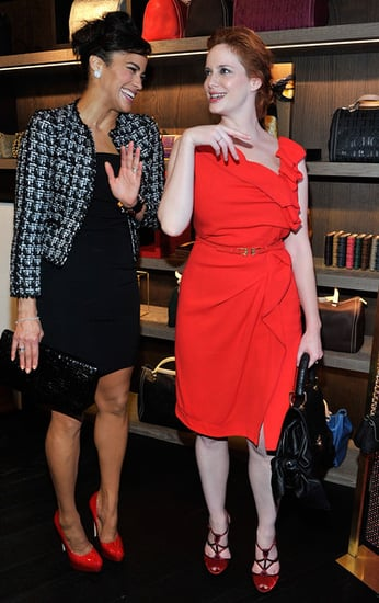 Christina Hendricks and Paula Patton attend The Carolina Herrera New York Store Opening on Fashion's Night Out