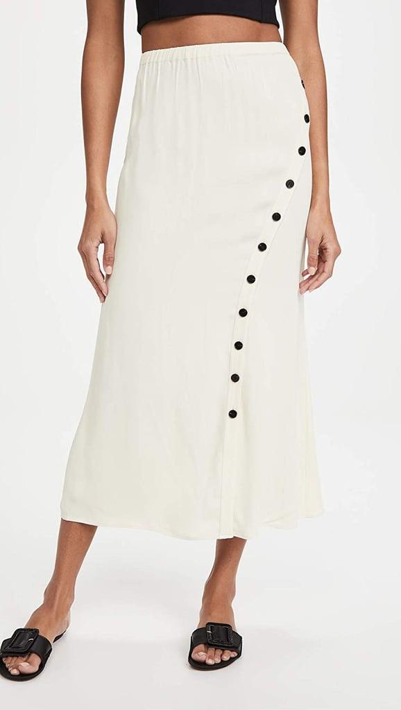 For Buttons: Self Portrait Crepe Button Midi Skirt