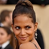 Halle Berry Hides Her Partially Shaved Head Under Her Ponytail at the SAG Awards