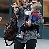Hilary Duff tried to fix Luca's hair after it got mussed up in the wind.