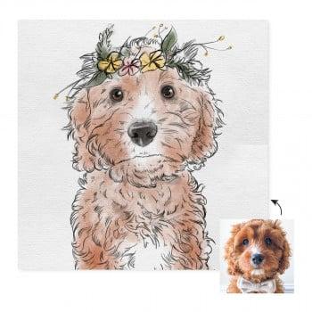 Flower Crown Custom Pet Portrait