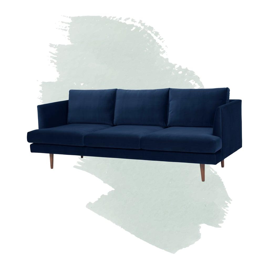 """Celia Velvet 84"""" Recessed Arm Sofa"""