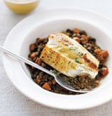 Fast & Easy Dinner: Halibut With Lentils and Mustard Sauce