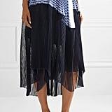 Sacai Piqué and Organza Trimmed Striped Cotton Poplin Skirt