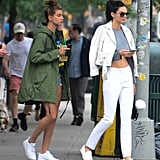 When Her Green Jacket Gave This Lazy-Day Look a Boost