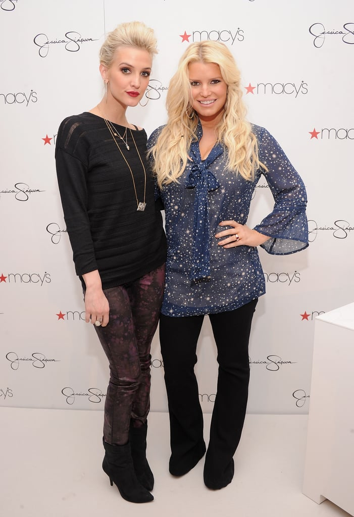 Jessica Simpson and Ashlee Simpson made a cameo at the South Coast Plaza mall in Costa Mesa, CA, yesterday for a special event at Macy's. The Simpson sisters attended a meet-and-greet with fans on behalf of the Jessica Simpson's adults' and girls' collections. Both lines are part of Jessica's brand empire, and she enlisted Ashlee's help in designing the installment for girls. Work has been keeping Jess plenty busy lately. She's logged time on the set of Fashion Star and oversaw her brand's Spring '13 ad campaign. Despite the long hours, Jess has had plenty of time with her baby daughter, Maxwell. Their family fun included a costumed Halloween, in which Maxwell dressed as a chicken and a monkey.