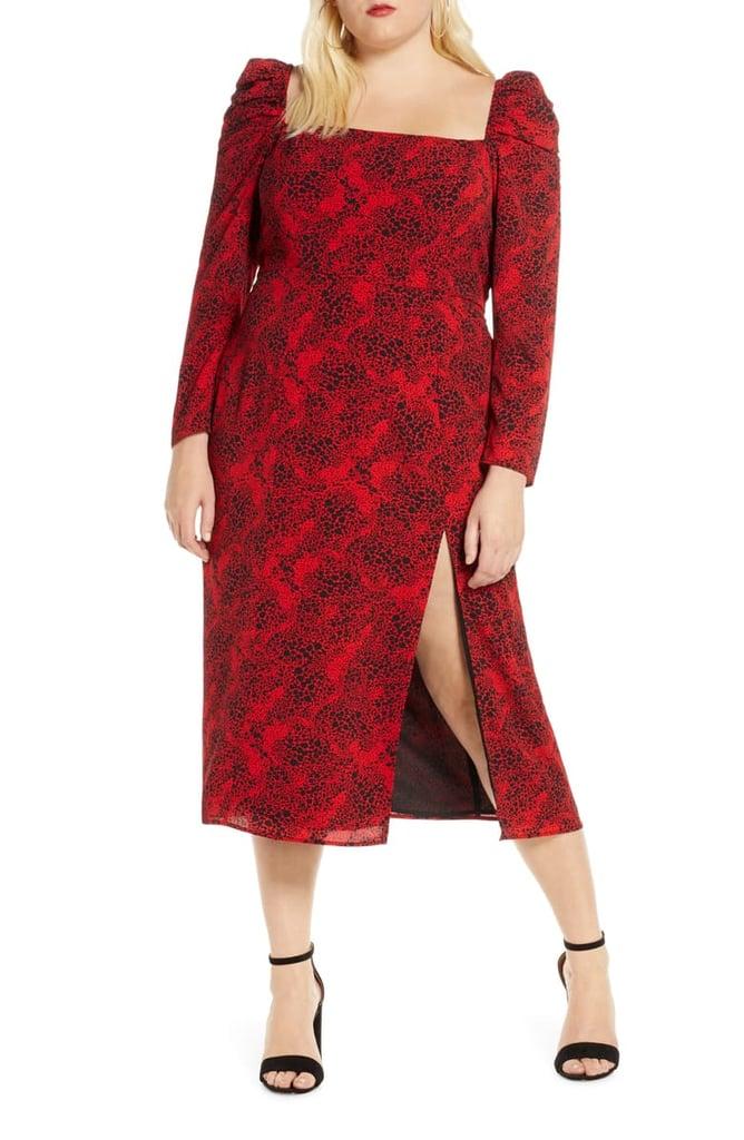 Leith Spatter Print Square-Neck Long-Sleeve Midi Dress