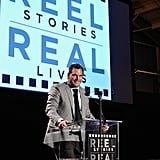 Chris Pratt was on stage at the Reel Stories, Real Lives event in LA.