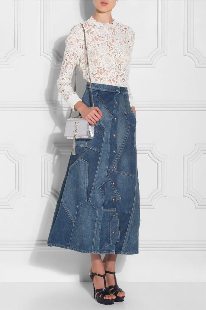 Saint Laurent Patchworked Denim Skirt