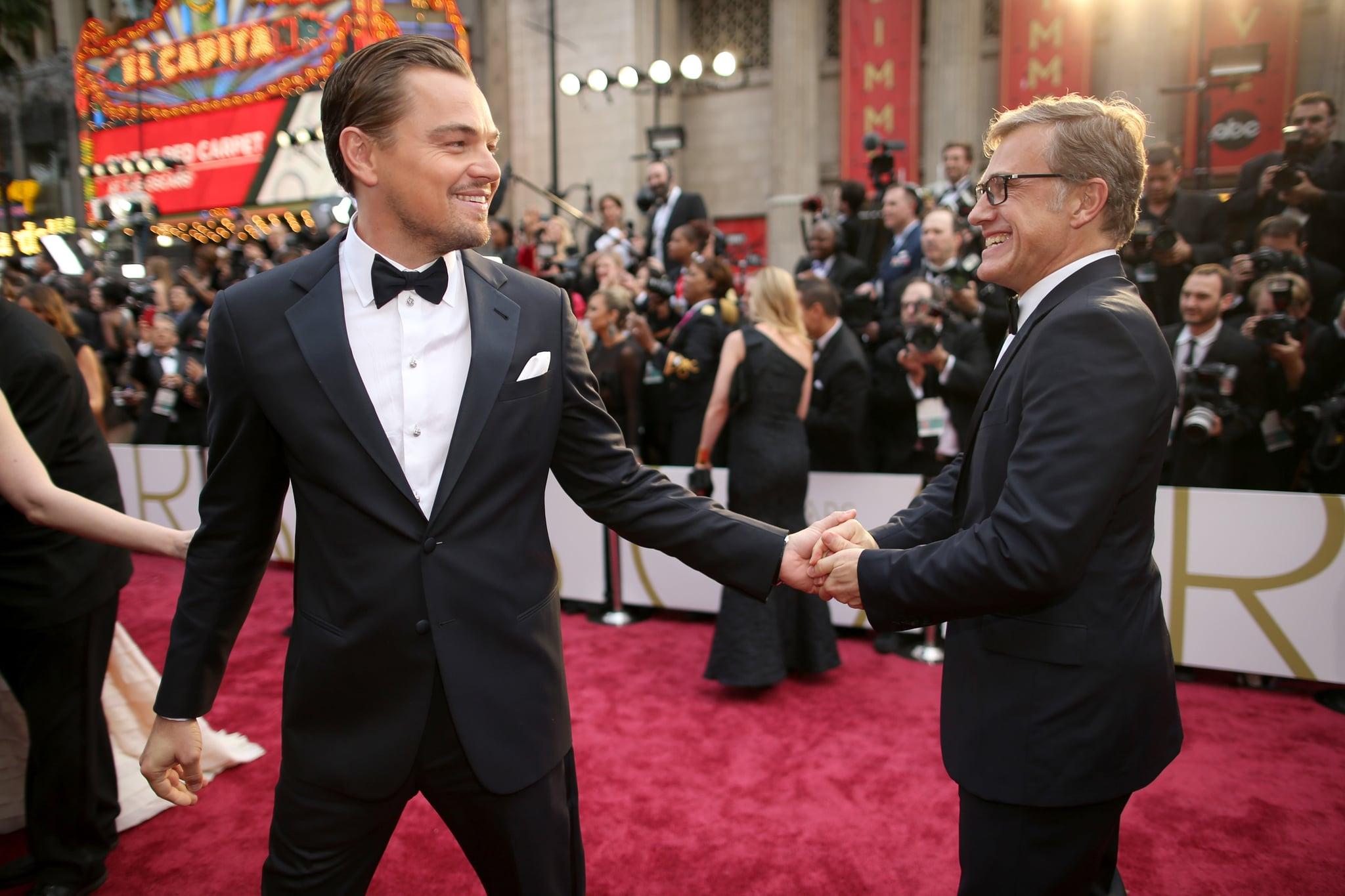 Leonardo DiCaprio and Christoph Waltz at the 2014 Oscars.