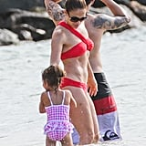 Jennifer Lopez rocked a sexy red bikini.