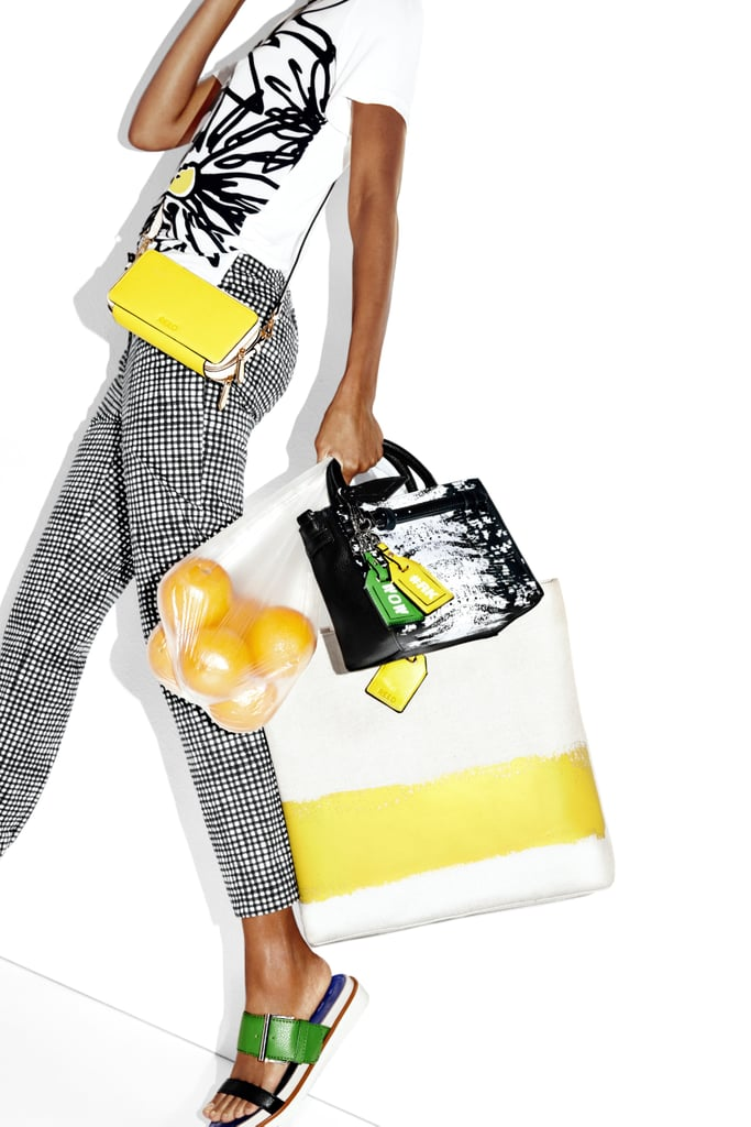Graphic Tee ($33), Gingham Capri Pants ($40), RK40 Belted Convertible Mini Satchel ($59), and RK40 Abstract Tote ($52)