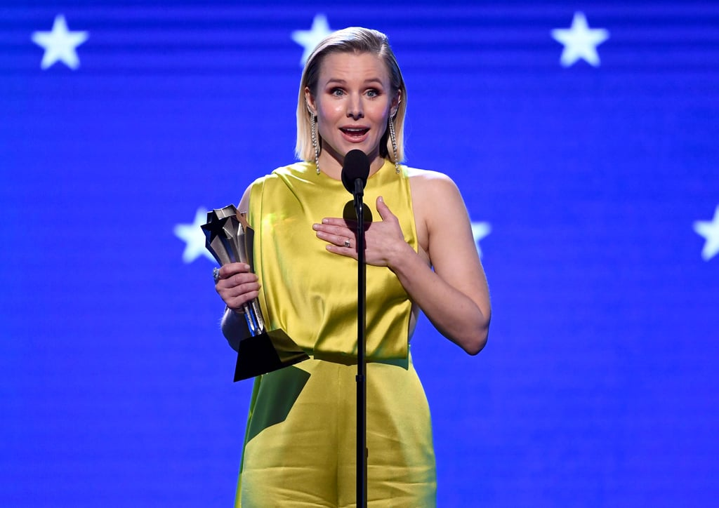 "On screen and in real life, Kristen Bell is smashing the box that women are often placed into. During Sunday night's Critics' Choice Awards, the actress was presented with the #SeeHer Award, which honours women who ""push boundaries on changing stereotypes and acknowledge the importance of authentic portrayals of women across the entertainment landscape."" After her Good Place costar Ted Danson presented her with the award, Bell took some time to reflect on the women she's played throughout the years and what it means to her to be a woman in this industry. ""If I'm being honest, being a woman is not about being brave or being strong or being powerful, it's not about being anything specific, it is just about giving yourself permission to be the things that you already are, which seems very easy, but it is not because women have been conditioned to fit into boxes, usually tiny, pretty, sparkly boxes with bows on them,"" she said. ""To me, the idea of womanhood is someone who sheds the perfect little box and owns their complexity, and I've been really lucky to be able to play some really complex women."" Whether she's portraying a princess in Frozen or even an assh*ole in a comedy, Bell's roles always shake stereotypes. ""Veronica Mars, who was sassy and strong but also soft and sad. Eleanor Shellstrop, who's tough and independent but was also capable of love and community. Princess Anna, who's probably the most unprincessy princess that's ever been animated. And Sarah Marshall, who let's be honest was kind of an assh*le, but to me, she was a really likable assh*le."" She also praised the previous winners of the award, Viola Davis, Gal Gadot, and Claire Foy, and even mocked herself for crying over a sloth, but she wrapped it up with an important message about women. ""What I've learned from all that is that nobody is just one thing, we are all all the things, so thank you for this."" See more from Bell's night at the Critics' Choice Awards ahead.      Related:                                                                                                           Presenting the 2020 Critics' Choice Awards Winners!"